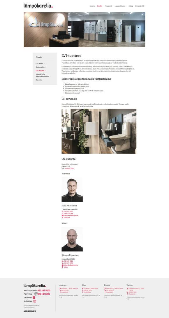 WordPress-kotisivut: Lämpökarelia, LVI-tuotteet - Mediakumpu