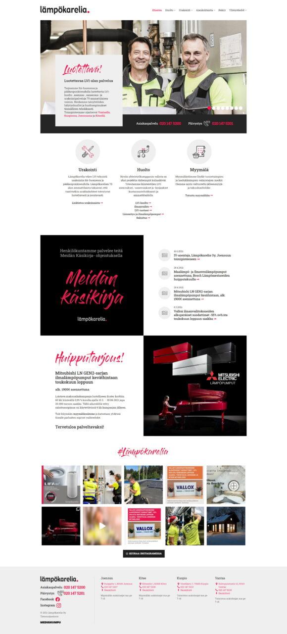 WordPress-kotisivut: Lämpökarelia, etusivu - Mediakumpu