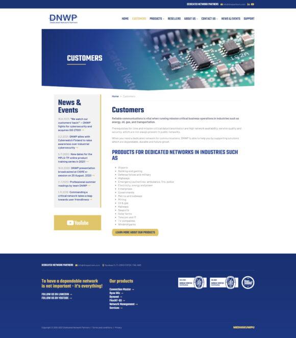 WordPress-kotisivut: Dedicated Network Partners, Customers - Mediakumpu