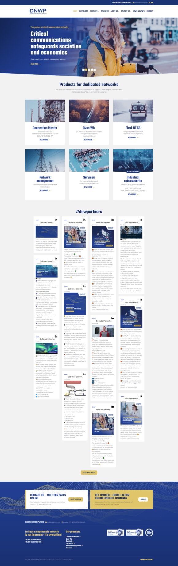 WordPress-kotisivut: Dedicated Network Partners, etusivu - Mediakumpu