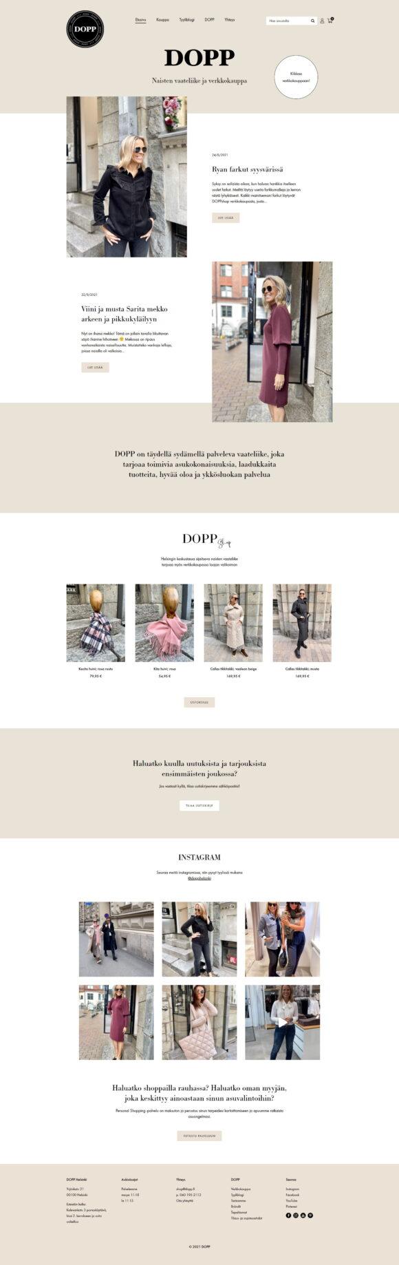 WooCommerce-verkkokauppa: DOPP vaateliike ja tyyliblogi, etusivu - Mediakumpu