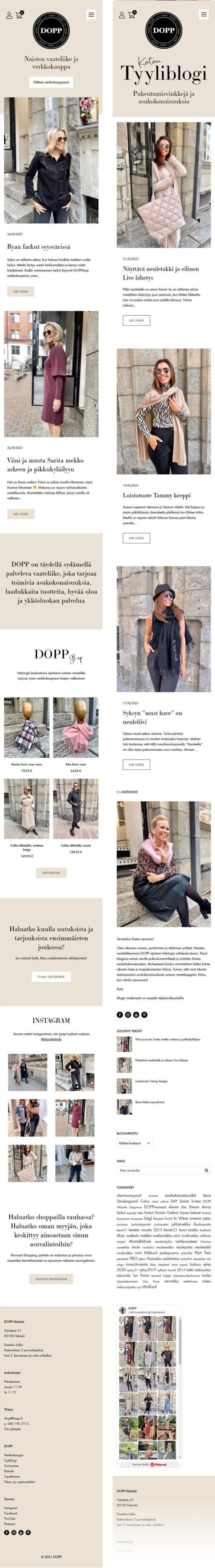 WooCommerce-verkkokauppa: DOPP vaateliike ja tyyliblogi, mobiilinäkymiä - Mediakumpu