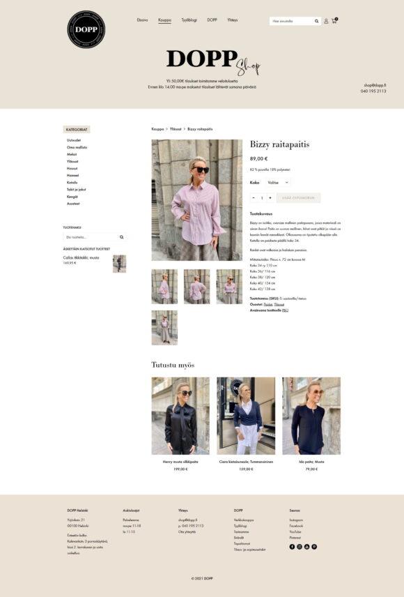 WooCommerce-verkkokauppa: DOPP vaateliike ja tyyliblogi, tuotesivu - Mediakumpu