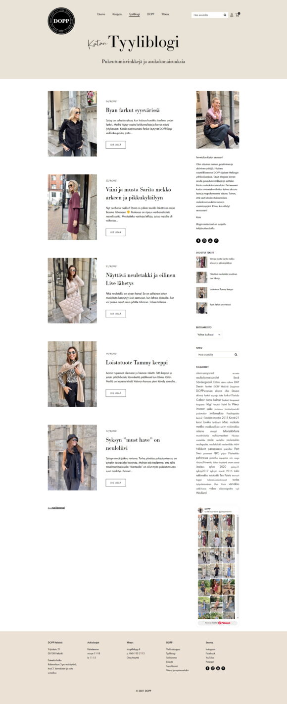 WooCommerce-verkkokauppa: DOPP vaateliike ja tyyliblogi, blogin etusivu - Mediakumpu