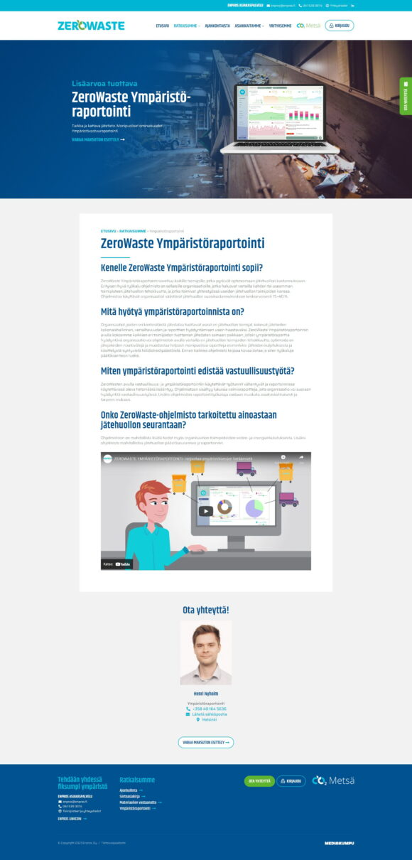 WordPress-kotisivut: Enpros ZeroWaste, ratkaisumme - Mediakumpu