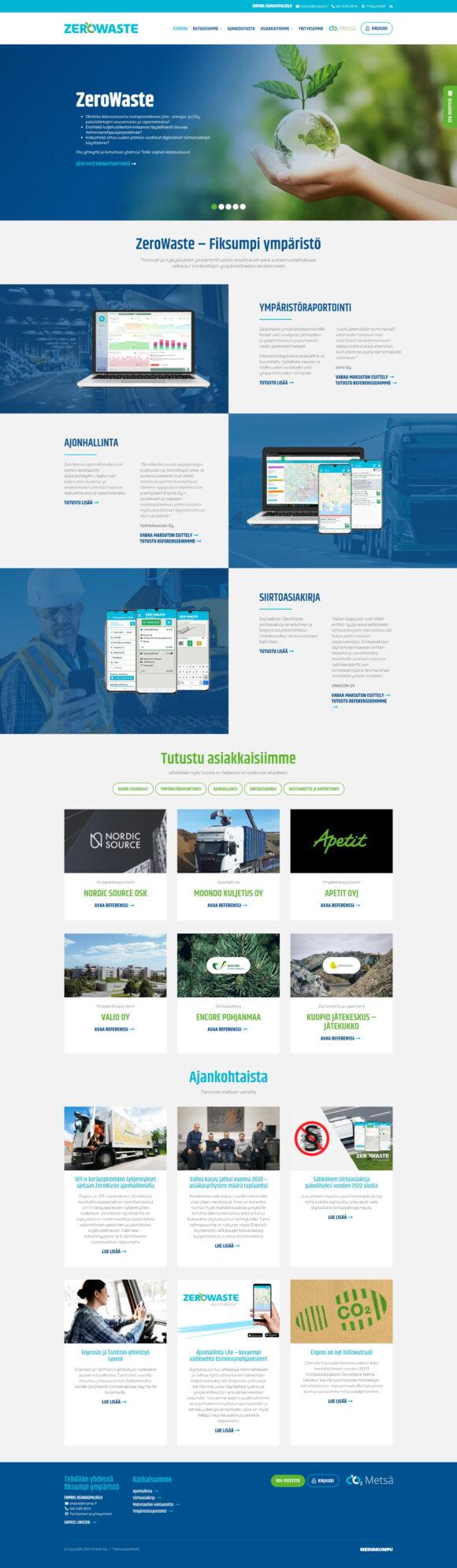 WordPress-kotisivut: Enpros ZeroWaste, etusivu - Mediakumpu