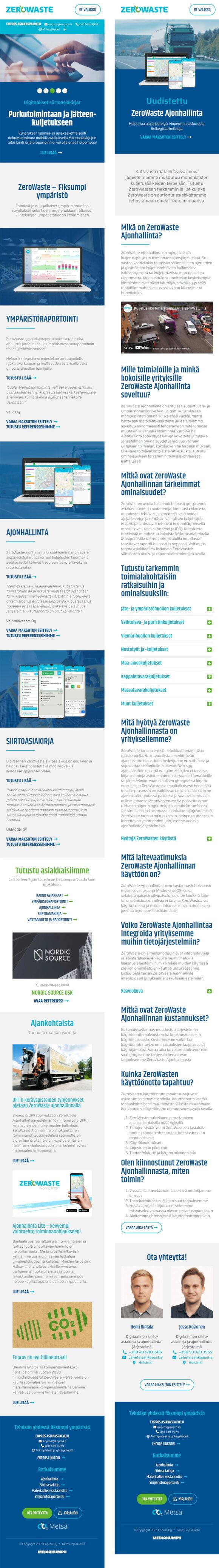 WordPress-kotisivut: Enpros ZeroWaste, mobiilinäkymiä - Mediakumpu