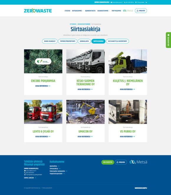 WordPress-kotisivut: Enpros ZeroWaste, referenssit - Mediakumpu