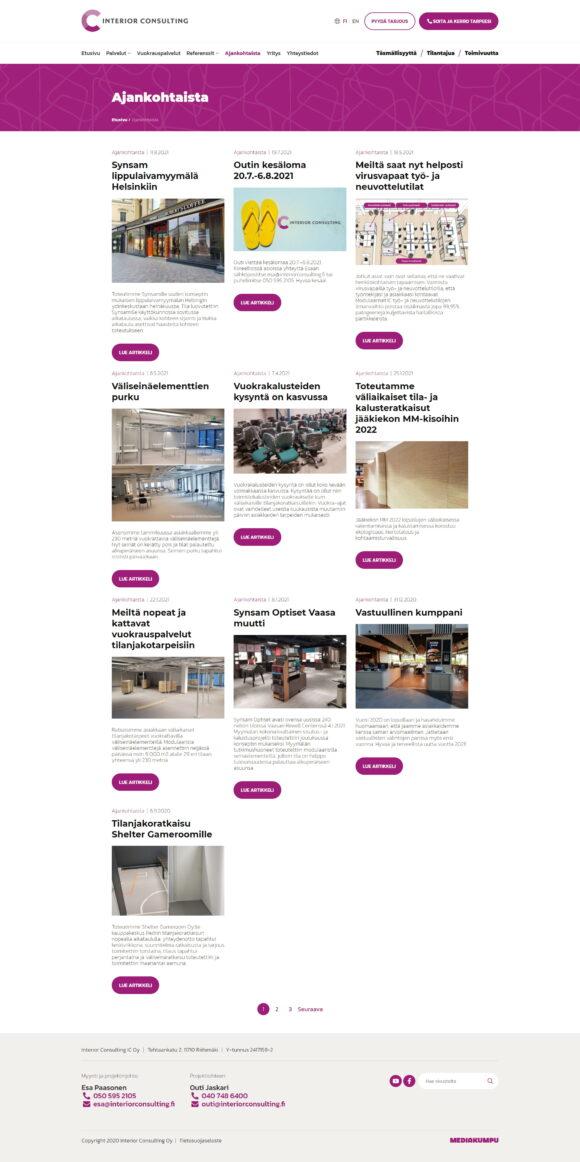 WordPress-kotisivut: Interior Consulting, ajankohtaista – Mediakumpu