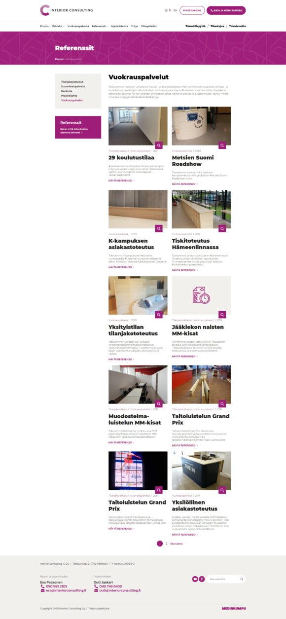WordPress-kotisivut: Interior Consulting, vuokrauspalvelut – Mediakumpu