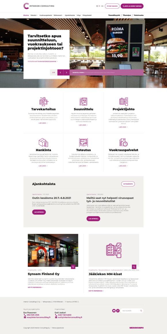 WordPress-kotisivut: Interior Consulting, etusivu – Mediakumpu
