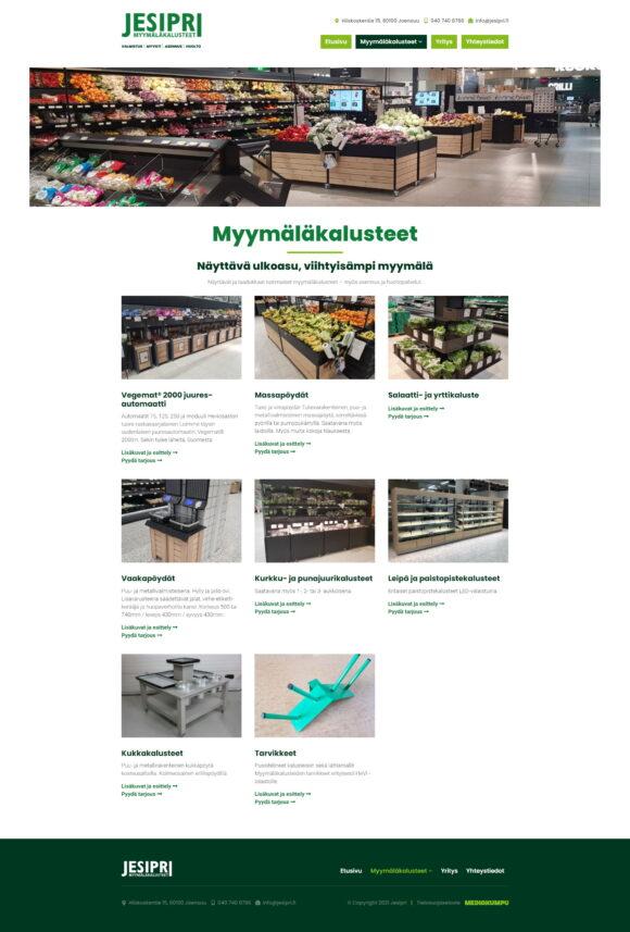 WordPress-kotisivut: Jesipri myymäläkalusteet, tuotteet - Mediakumpu