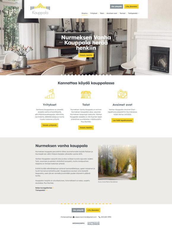 WordPress-kotisivut: Nurmeksen Vanha Kauppala, etusivu - Mediakumpu