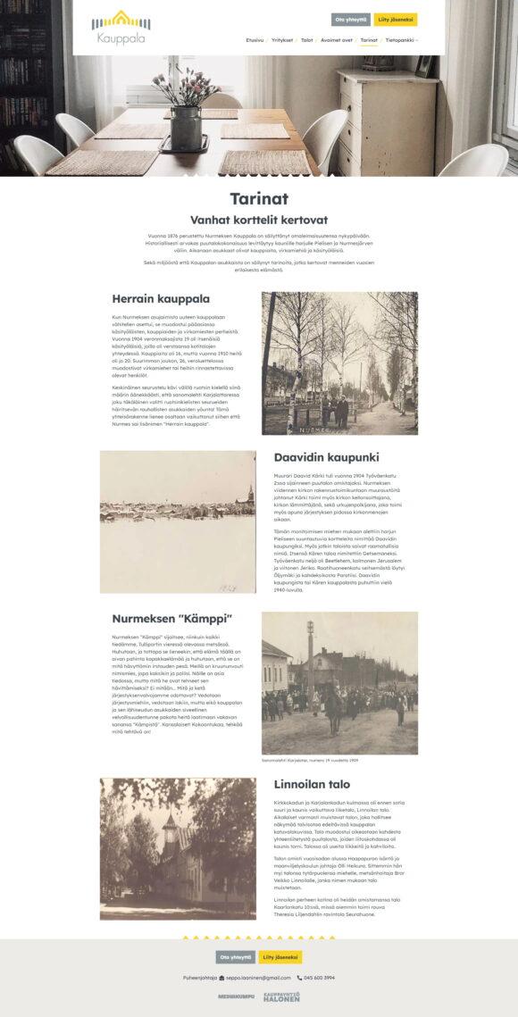 WordPress-kotisivut: Nurmeksen Vanha Kauppala, Vanhat korttelit kertovat - Mediakumpu