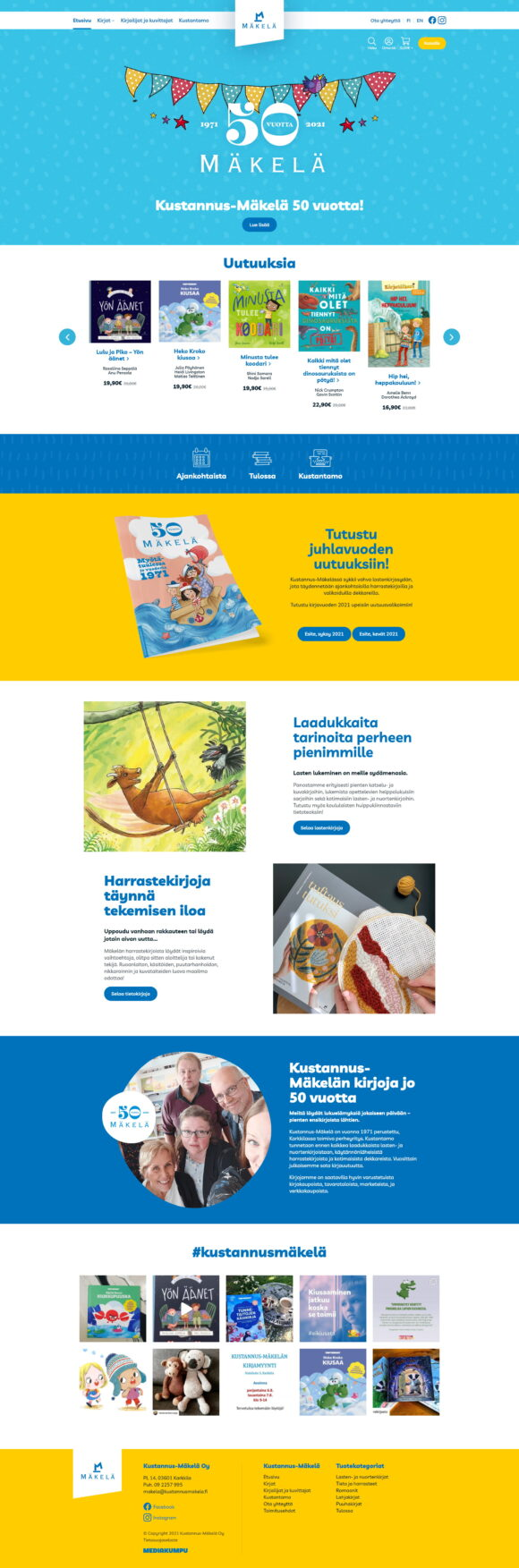 WooCommerce-verkkokauppa: Kustannus-Mäkelä kirjakauppa, etusivu - Mediakumpu