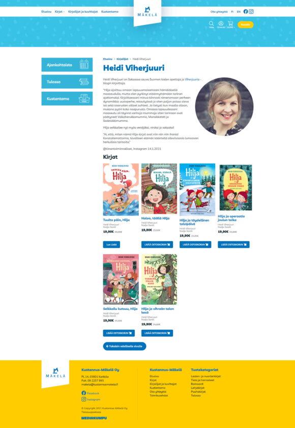 WooCommerce-verkkokauppa: Kustannus-Mäkelä kirjakauppa, kirjailijat - Mediakumpu