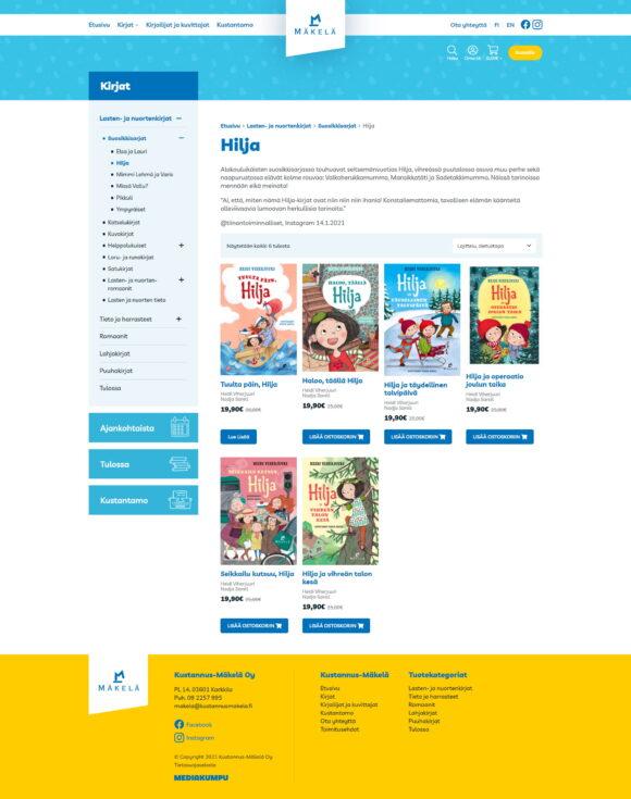 WooCommerce-verkkokauppa: Kustannus-Mäkelä kirjakauppa, kirjasarja - Mediakumpu