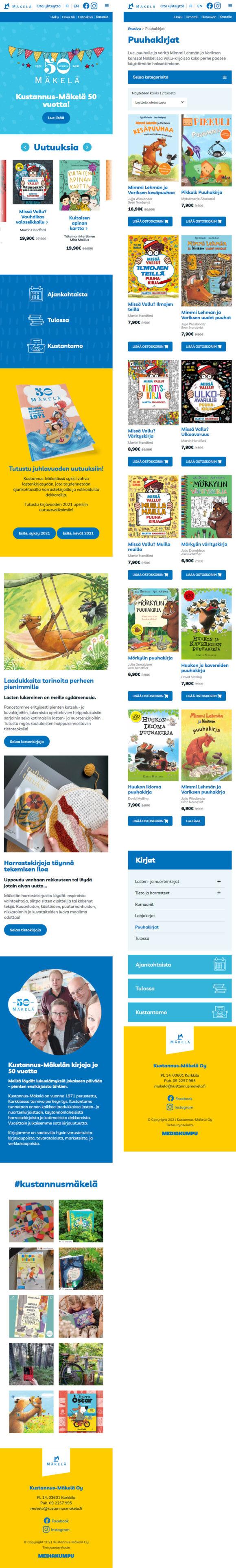 WooCommerce-verkkokauppa: Kustannus-Mäkelä kirjakauppa, mobiilinäkymiä - Mediakumpu