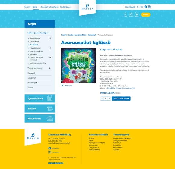 WooCommerce-verkkokauppa: Kustannus-Mäkelä kirjakauppa, tuotesivu - Mediakumpu