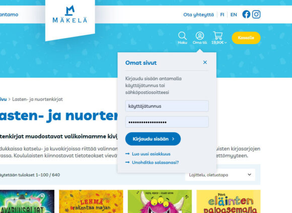 WooCommerce-verkkokauppa: Kustannus-Mäkelä kirjakauppa, omat sivut - Mediakumpu