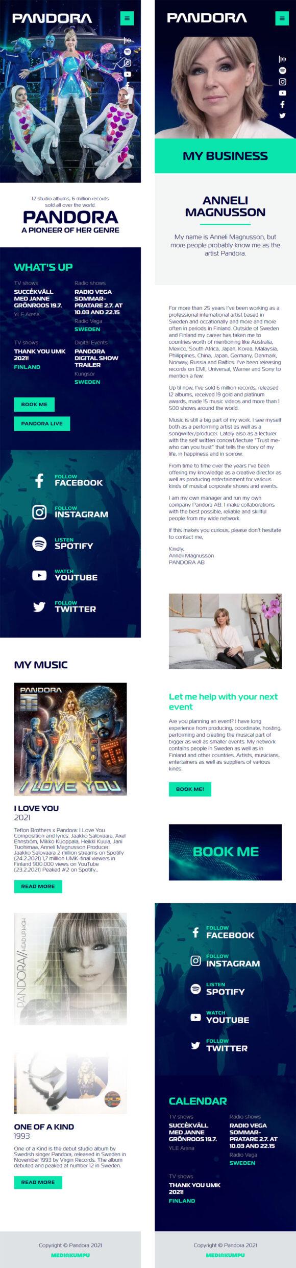 WordPress-kotisivut: Anneli Pandora Magnusson, mobiilinäkymiä - Mediakumpu