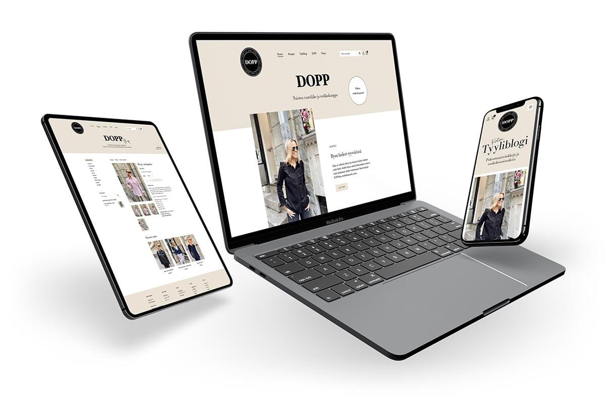 WooCommerce-verkkokauppa: DOPP vaateliike ja tyyliblogi - Mediakumpu