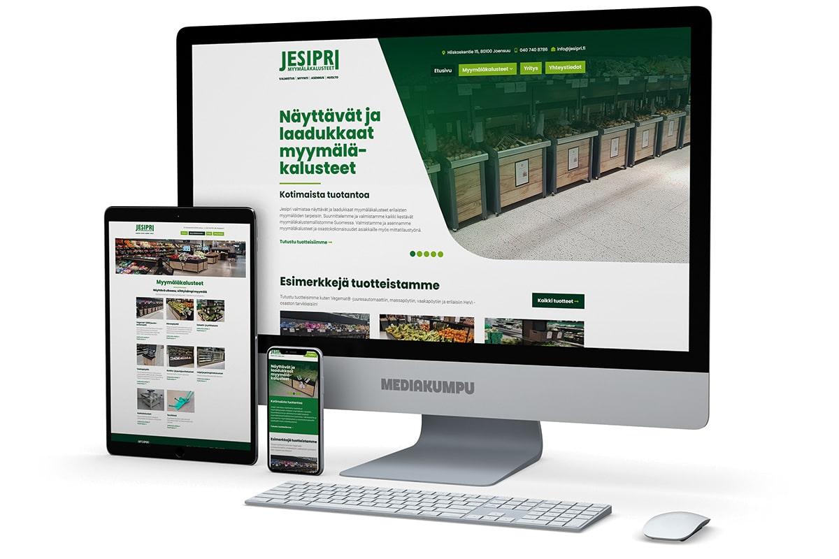 WordPress-kotisivut: Jesipri myymäläkalusteet - Mediakumpu