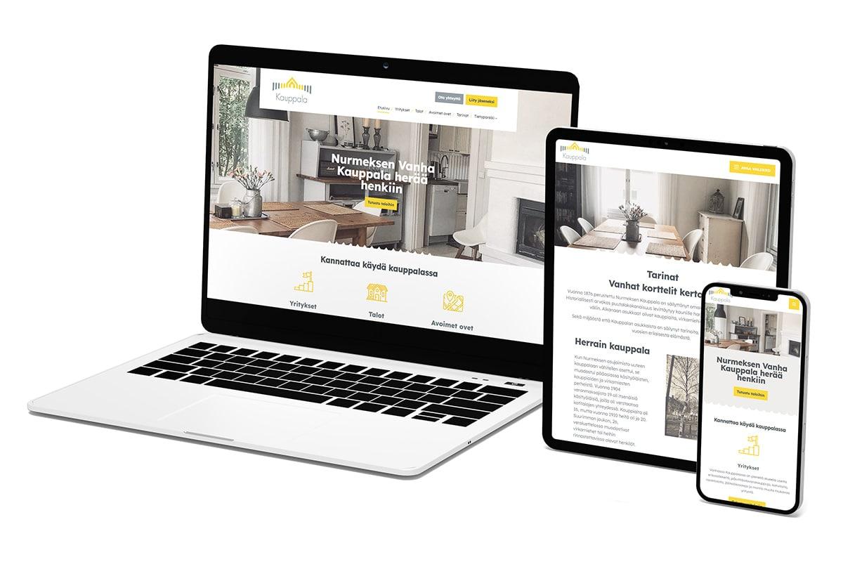 WordPress-kotisivut: Nurmeksen Vanha Kauppala - Mediakumpu