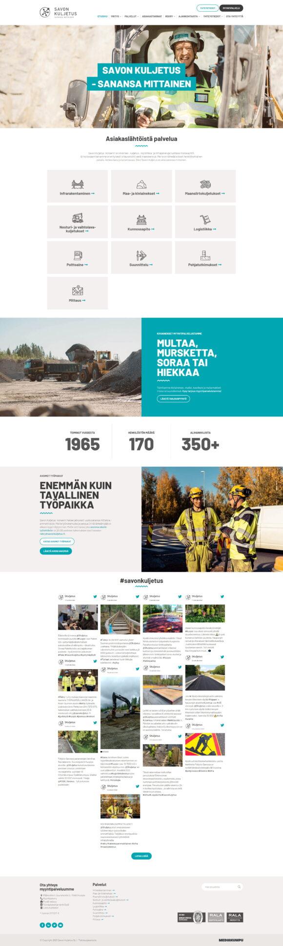WordPress-kotisivut: Savon Kuljetus, etusivu - Mediakumpu