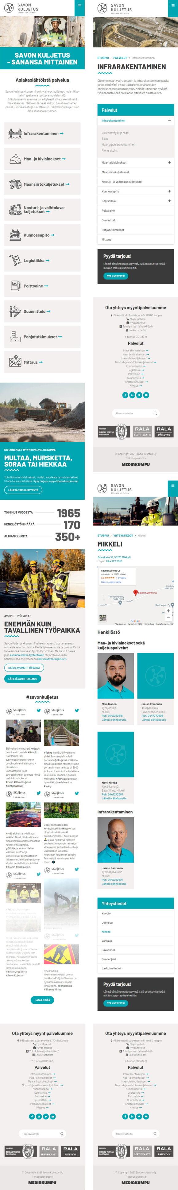 WordPress-kotisivut: Savon Kuljetus, mobiilinäkymiä - Mediakumpu